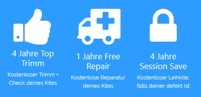 Trimm, Free Repair, Session Safe, Kitejunkie Leistungen